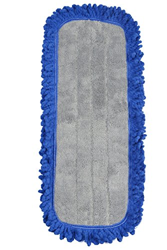 JaniFIber 6318-12 Microfiber Dust Mop Pads Commercial Washable Reusable, Blue, 18 x 5 Inch, Pack of 12 by JaniFiber