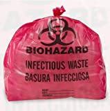 Biohazard Trash Liners (7-10 Gallons, Red Infectious Waste)