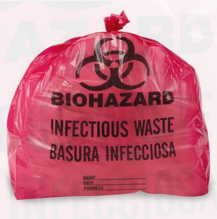 - Biohazard Trash Liners (7-10 Gallons, Red Infectious Waste)