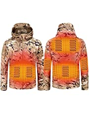 Heated Jacket for Men USB Lightweight Heated Vest Insulated Electric Coat Windproof Waterproof Heated Camo Jacket Hunting