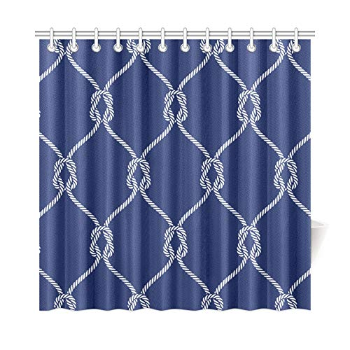 AIKENING Home Decor Bath Curtain Hemp Rope Hand-Painted Creativity Polyester Fabric Waterproof Shower Curtain for Bathroom, 72 X 72 Inch Shower Curtains Hooks Included ()