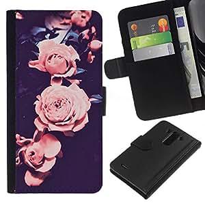 All Phone Most Case / Oferta Especial Cáscara Funda de cuero Monedero Cubierta de proteccion Caso / Wallet Case for LG G3 // subió viñeta rosa pétalo de la flor negro