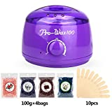Wax Warmer Hair Removal Waxing Kit with Plug-in Wax Heater, 4 Flavors Hard Wax Beans and 10 Wax Applicator Sticks