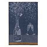 Coucke French Cotton Jacquard Towel, Bouteille Prestige (Bottle) Bleu, 20-Inches by 30-Inches, Blue