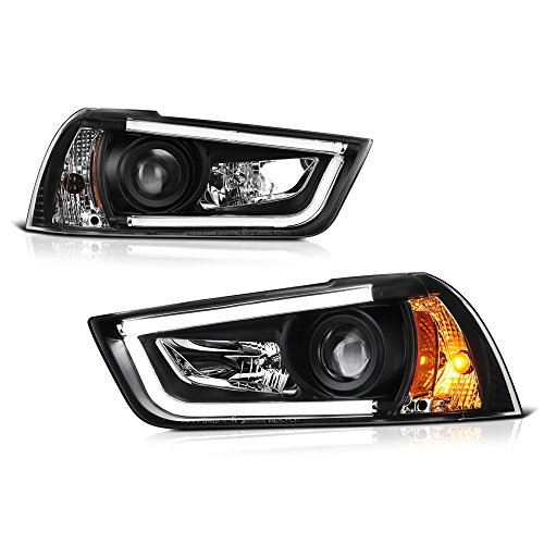 2012 Dodge Neon Sxt - [For 2011-2014 Dodge Charger Halogen Model] OLED Neon Tube Black Projector Headlight Headlamp Assembly, Driver & Passenger Side