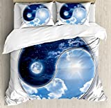 Apartment Decor Duvet Cover Set by Ambesonne, Yin Yang World with Moon and Sun Harmony of the Universe Art, 3 Piece Bedding Set with Pillow Shams, Queen / Full, Navy Blue Sky Blue White