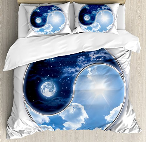 Apartment Decor Duvet Cover Set by Ambesonne, Yin Yang World with Moon and Sun Harmony of the Universe Art, 3 Piece Bedding Set with Pillow Shams, King Size, Navy Blue Sky Blue White (Yin Yang Outdoor Furniture)