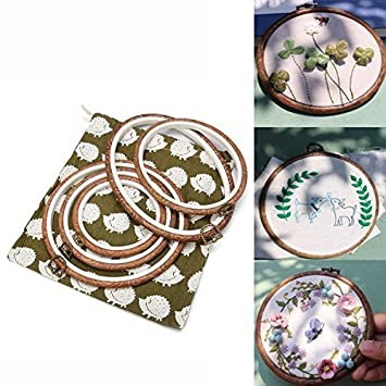 ARTISTORE 5 Pieces Embroidery Hoops Cross Stitch Hoop Embroidery Circle Set With Storage Bag For Art Craft ARTISTOREweodogkw72