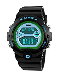 SKMEI Children's SK1153A Outdoor Sports Multifunction Waterproof Bright Color Jelly Digital Wrist Watch Black