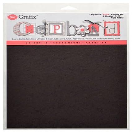 Grafix Medium Weight, 12-Inch by 12-Inch Chipboard Sheets, Black, 6-Pack CB12-6BK
