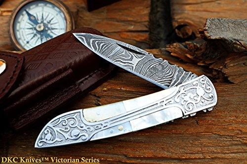 (DKC Knives (13 6/18) DKC-37-PS VICTORIAN Damascus Folding Pocket Knife Pearl Shell 7.75