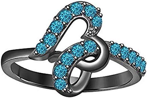 Gomesjewels 020 Ct Created Round Cut Swiss Blue Topaz Gemstone 925 Sterling Silver Dazzling Swirling Swirl Heart Ring Valentines for Womens Girls