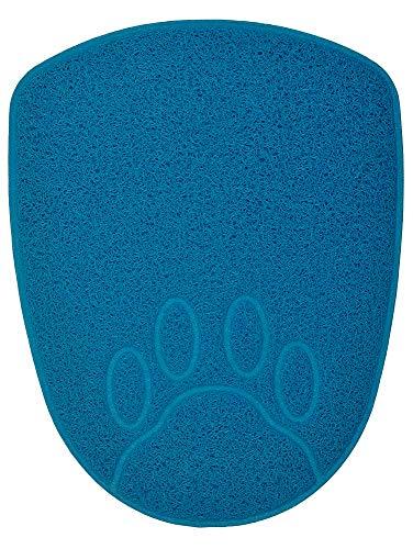 DM Shield-Shaped Cat Litter Box Debris Catcher Mat,Non Slip Pet Feeding Placemat,13.8×17.5 Inches