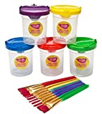 Edukit Spill Proof Paint Cups and Children's Paint Brush Set – 5 Paint Pots and 10 Kids Paint Brushes – Children's Art and Crafts Kit