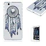 For Huawei P9 Lite Case [with Free Screen Protector].Funyye Popular Fashion Transparent Soft TPU Fashion Pattern Design Shock Proof Protective Cover Case forHuawei P9 Lite-Dream catcher feather