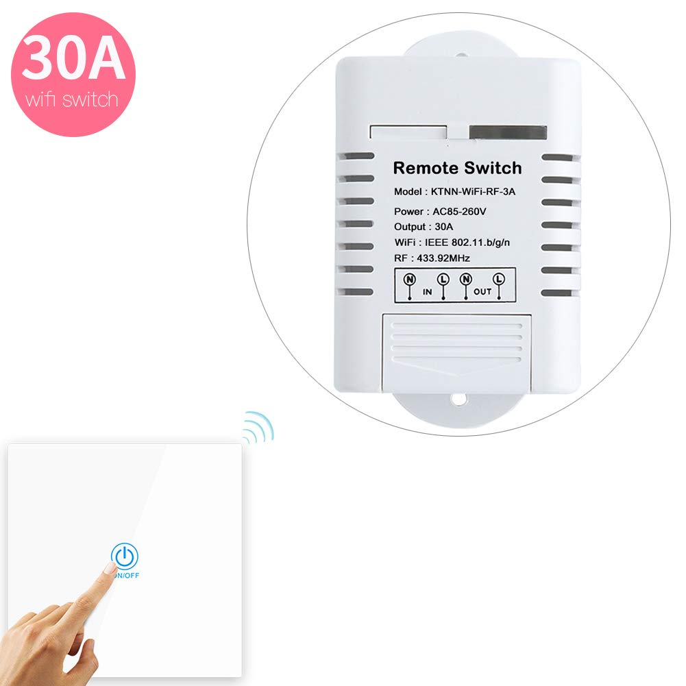 110V 30A 3300 Watts Wifi Relay for Light Switch and Water Heater Timer and Pump Control - Support Manual and Remote Control - Touch Panel Transmitter Paired Well(White)