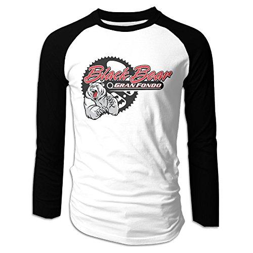Creamfly Mens Black Bear Logo Long Sleeve Raglan Baseball Tshirt - Toms Near Me Shop