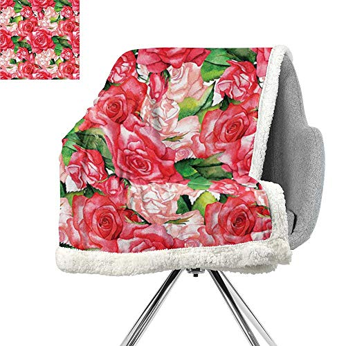 ScottDecor Roses Decorations Collection Flannel Bed Blankets,Bunch of Various Sized Spring Roses and Leaves Bouqet of Affection Boho Artwork,Green Pink Red,Print Summer Quilt Comforter W59xL31.5 -