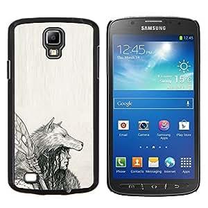 LECELL--Funda protectora / Cubierta / Piel For Samsung Galaxy S4 Active i9295 -- Nativo indio Lobo Mujer Lanza Arte Dibujo --