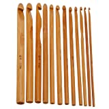[Free Shipping] 12 Bamboo Handle Crochet Hooks Needle Set // 12 de bambú conjunto ganchos mango ganchillo aguja