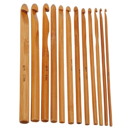 [Free Shipping] 12 Bamboo Handle Crochet Hooks Needle Set // 12 de bamb conjunto ganchos mango ganchillo aguja