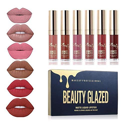 Beauty Glazed 6pcs Matte Velvety Liquid Lipstick Matte Liquid Lipgloss Set,Waterproof Long Lasting Moisturizing Lip Gloss Lip Makeup ()