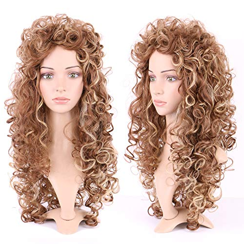 26 Inch Long Curly Lolita Cosplay Wigs Japanese Synthetic Full Wig for Women Girls Messy Wavy Highlighted Hair Wig Golden Brown Bleach Blonde - Wig Blonde Character