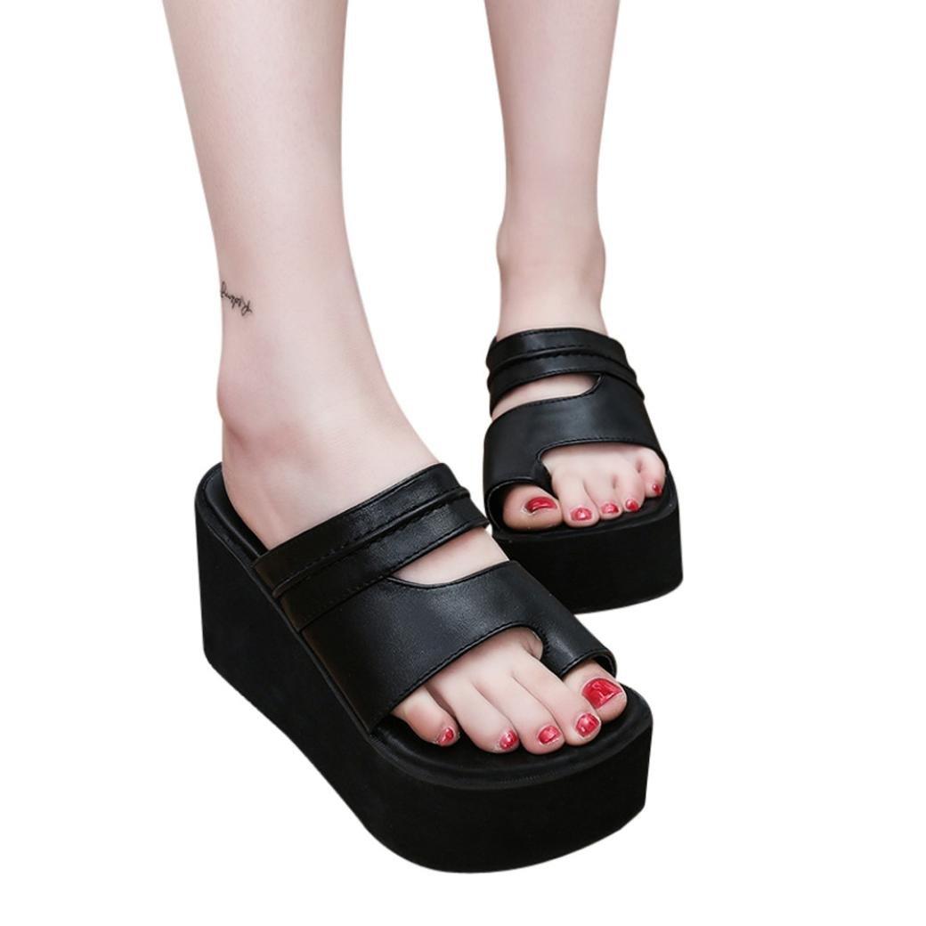 Fheaven Women Summer Peep Toe Platform Sandals Slipper Toe Ring Flatform Shoes Slide (US:6.5, Black)