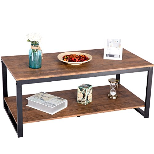 Giantex Coffee Table with Black Metal Frame Rectangle Accent Cocktail Table with Open Shelving & Foot Pad Living Room Furniture