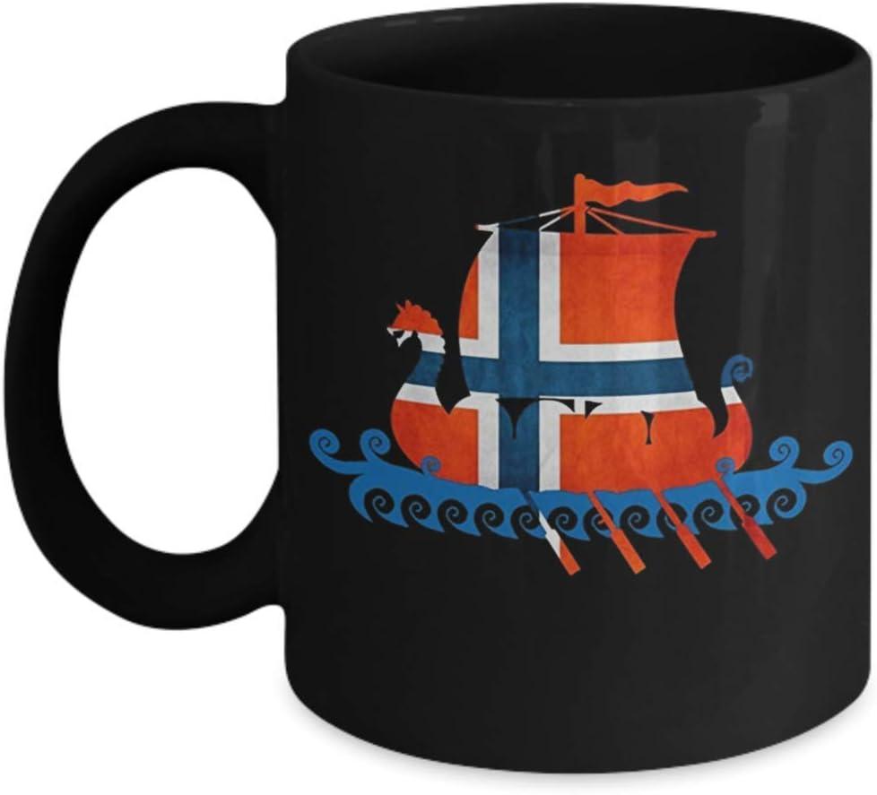 Amazon Com Norway Viking Mug Norwegian Flag Viking Ship Mug Kitchen Dining