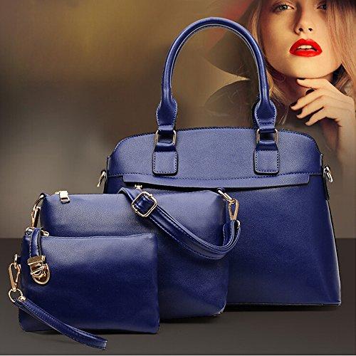 M-Queen PU in pelle 3 in 1 Set Bag con 1 Borsa a spalla 1 Borsa and 1 Purse blu moda progettazione bag