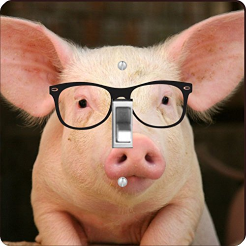Rikki Knight RK-LSPS-44685 Percy the Pigster, Hipster, Pig in Sty Design Light Switch Plate Cover by Rikki Knight