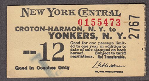 New York Central Croton-Harmon to Yonkers railroad ticket (1965 Railroad)