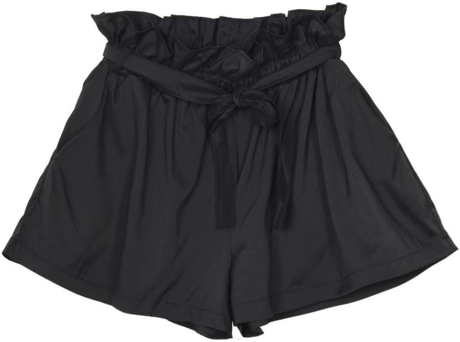 Amlaiworld Donne Casual Design Sciolto Pantaloncini a Vita Alta con Cintura Donna Pantaloncino