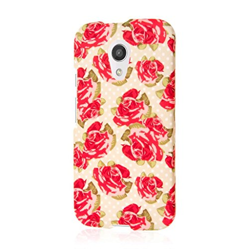 Moto G 2nd Gen/Moto G EXT Case - Vintage Red Roses, MPERO SNAPZ Series Rubberized Case for Motorola Moto G (2nd Gen 2014) / Moto G EXT (Moto G Ext Accessories)