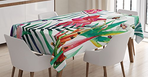 (Ambesonne Watercolor Flower Decor Tablecloth, Tropical Wild Orchid Flowers with Palm Leaves Print Exotic Style Nature Artwork, Rectangular Table Cover for Dining Room Kitchen, 60x84 Inch, Green Red)