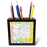 3dRose Lens Art by Florene - Topo Maps, Flags of States - Image of New Mexico Topographic Map with Flag - 5 inch Tile Pen Holder (ph_291415_1)