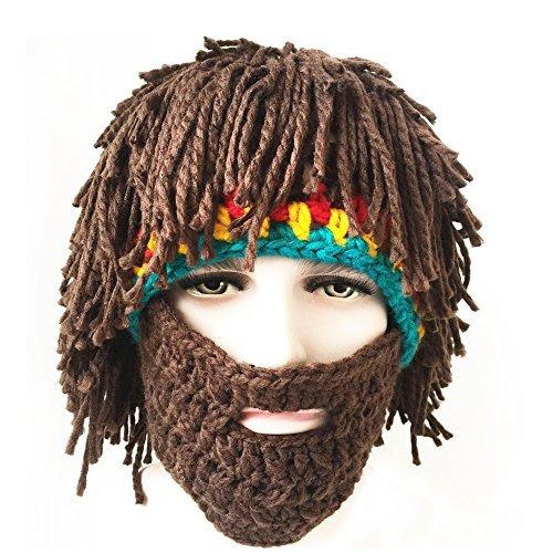 FUGUS Creative Knit Bearded Hats Handmade Beard Wig Warm Caps by FUGUS