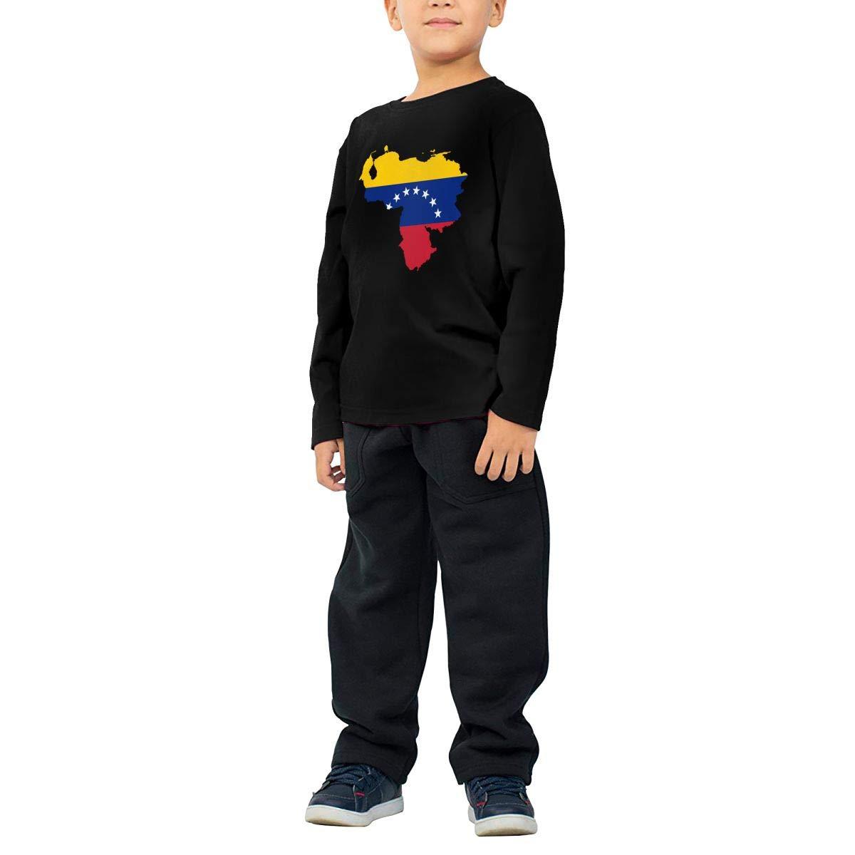 CERTONGCXTS Childrens Venezuela Map Flag ComfortSoft Long Sleeve Shirt