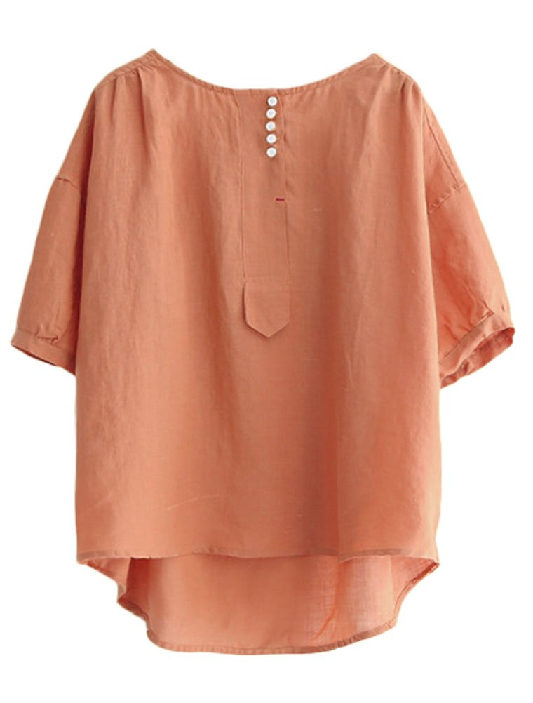 Minibee Women's Hi-low Tunics Blouse Loose Linen Shirt Tops M Orange