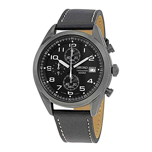 lack Leather Band IP Steel Case Hardlex Crystal Quartz Analog Watch SSB277P1 ()