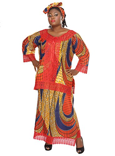 African Planet Women's Three Pc Skirt Blouse Red Ethnic Nigerian Lace Kitenge by African Planet