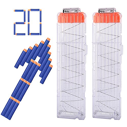 Hosim 2 Pack 18-Dart Quick Reload Clips Magazine with Extra 20pcs Blue Darts, Best Replacement Magazine Kits for Nerf Toy (Firepower High Capacity Magazine)