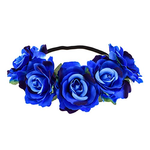 June Bloomy Rose Floral Crown Garland Flower Headband Headpiece for Wedding Festival (Blue)