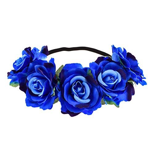 June Bloomy Rose Floral Crown Garland Flower Headband Headpiece for Wedding Festival ()