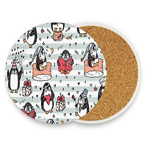 LoveBea Cute Penguins Coasters, Protect Your Furniture from Stains,Coffee, Cork Coasters Funny Housewarming Gift,Round Cup Mat Pad for Home, Kitchen Or Bar 1 (Club Penguin Halloween Floor 12)