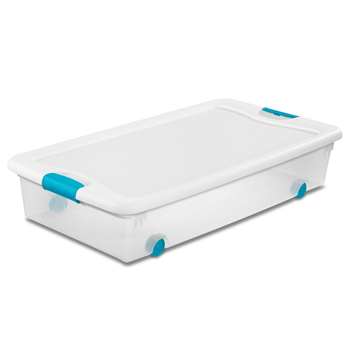 Sterilite 1498800456 quart/53 L Wheeled Latching Box with Clear Base, White Lid and Colored Latches, 4-Pack