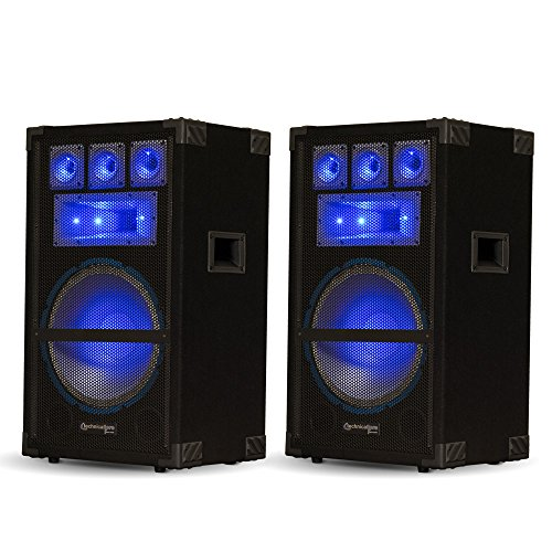 Technical Pro VRTX12L Passive LED Speaker Pair 3600 Watts DJ PA Karaoke Studio Home by Technical Pro