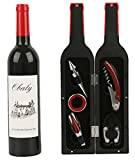 OBALY Wine Bottle Accessories Gift Set - 5 Pcs Wine Opener tool kit in Novelty Bottle Shaped Case,Wedding House Warming,Party,Birthday Wine Corkscrew Opener Accessories Set