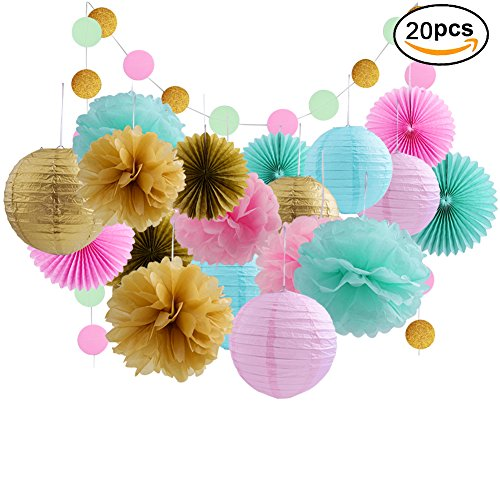 20 Pcs Gold Tissue Paper Flowers And Pink Pom Poms Lanterns For Baby Shower Birthday Decoration,Bridal Wedding Party (Paper Lantern Decorations)